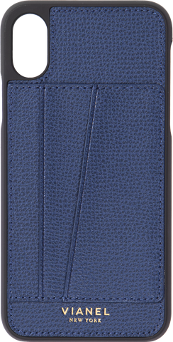 Card Holder iPhone X and Xs Case - Calfskin - Navy
