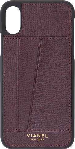 Card Holder iPhone X and Xs Case - Calfskin - Oxblood