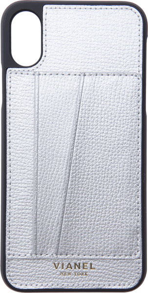 Card Holder iPhone X and Xs Case - Calfskin - Silver