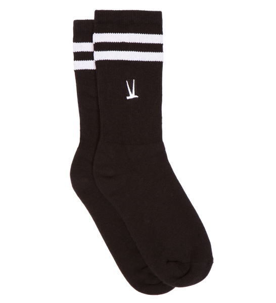 Crew Sock / Black With White