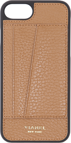 Card Holder iPhone 7 and 8 Case - Calfskin - Tan