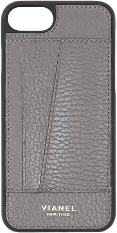 Card Holder iPhone 7 and 8 Case - Calfskin - Grey