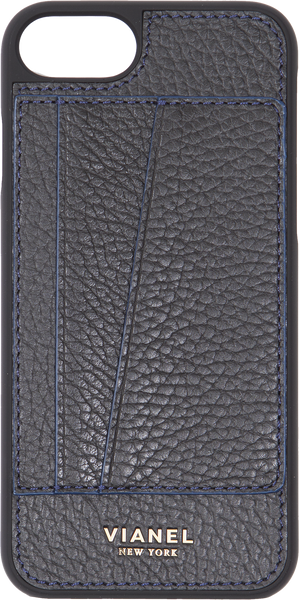 Card Holder iPhone 7 and 8 Case - Calfskin - Black With Blue