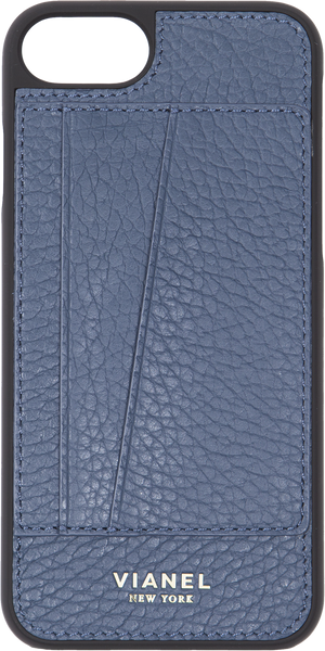 Card Holder iPhone 7 and 8 Case - Calfskin - Navy