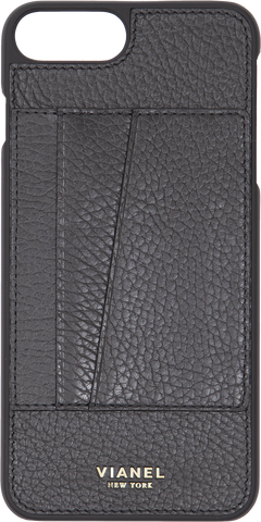 Card Holder iPhone 7 Plus and 8 Plus Case - Calfskin - Black
