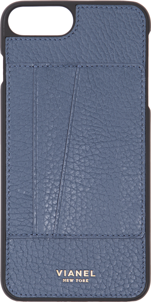 Card Holder iPhone 7 Plus and 8 Plus Case - Calfskin - Navy