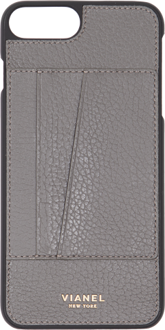 Card Holder iPhone 7 Plus and 8 Plus Case - Calfskin - Grey