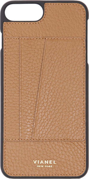 Card Holder iPhone 7 Plus and 8 Plus Case - Calfskin - Tan