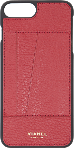 Card Holder iPhone 7 Plus and 8 Plus Case - Calfskin - Red
