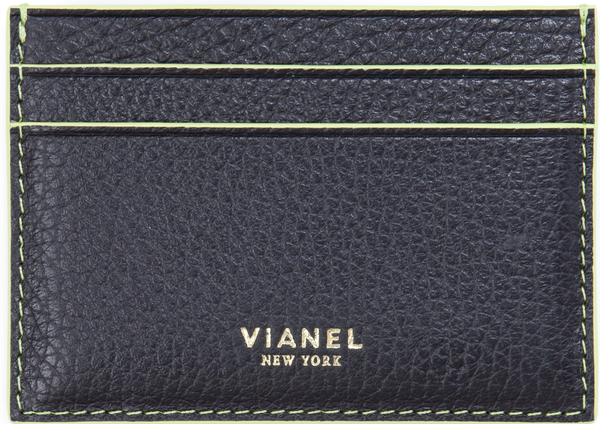 V3 Card Holder - Calfskin - Black With Lemon