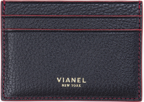 V3 Card Holder - Calfskin - Black With Red