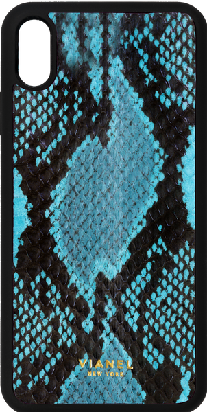 iPhone Xs MAX Flex Case - Snake - Turquoise With Black