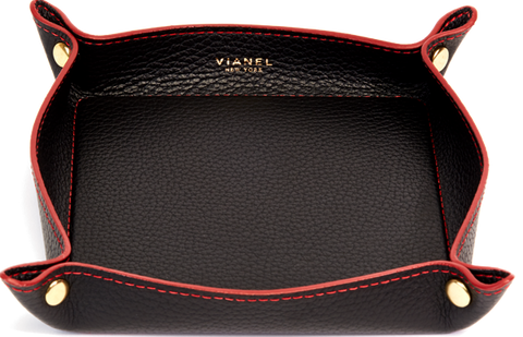 Calfskin / Black With Cherry Red