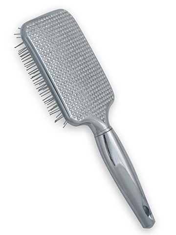 Paddle Hair Brush for Detangling & Styling - Ideal for Blow-Dry, Straighten, Comb All Hair Types - Bling Design (Silver)
