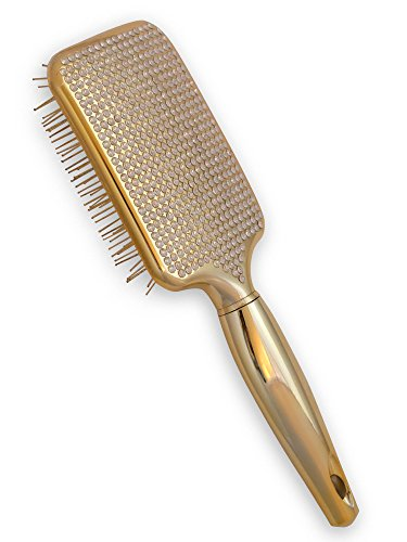Paddle Hair Brush for Detangling & Styling - Ideal for Blow-Dry, Straighten, Comb All Hair Types - Bling Design (Gold)