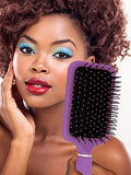 Paddle Hair Brush with Large Mirror - Ideal for Blow-Drying, Detangling, Straighten, Comb All Hair Types (Purple Color)