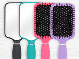 Paddle Hair Brush with Large Mirror - Ideal for Blow-Drying, Detangling, Straighten, Comb All Hair Types (Pink Color)