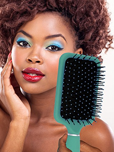Turquoise Paddle Brush with Large Mirror