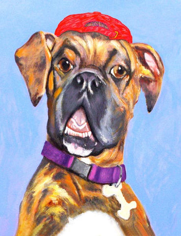 Brindle  Signed Print of Boxer Dog Painting
