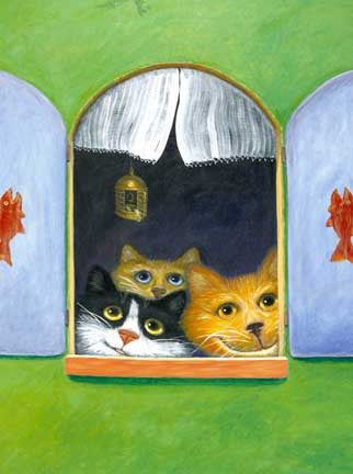 Bye Bye Birdie   Signed Print of Cat Painting