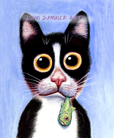 An Aquarium Taste  Signed Print of Cat Painting