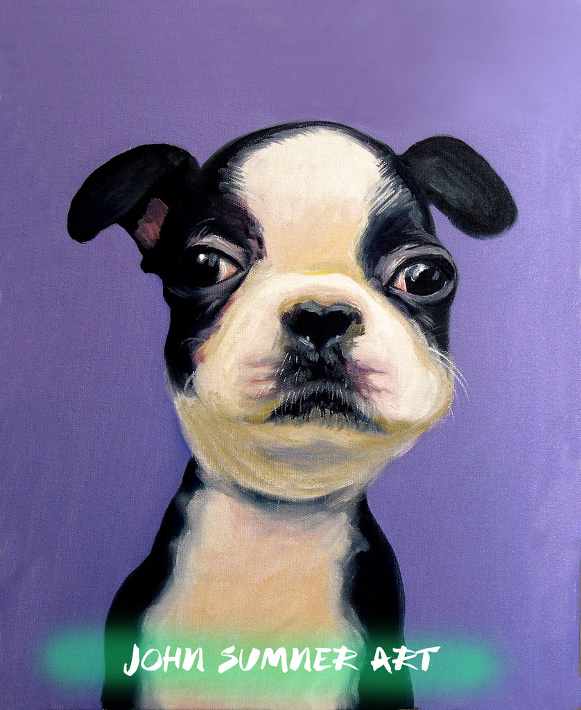 Baby Boston  Signed Print of Dog Painting