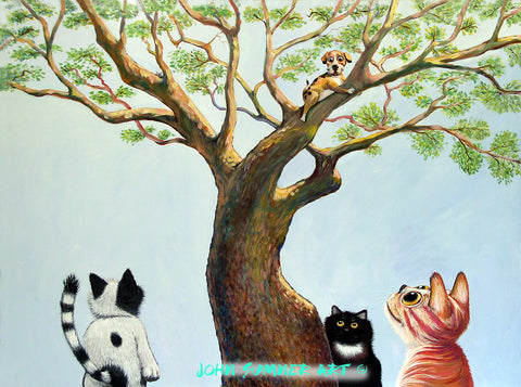 Bark on Bark  Signed print of Cat and Dog painting