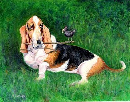 Basset and Buddy  Signed Print of Dog Painting
