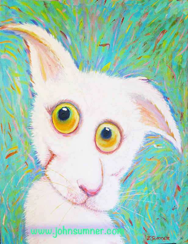 Big White  Signed Print of Cat Painting