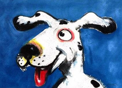 Bonehead Signed Print of Dog Painting