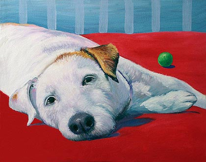 Breaktime   Signed Print of Dog Painting