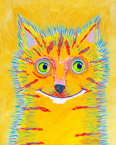 Carrot  Juice   Signed Print of Cat Painting