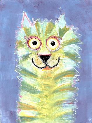 Catapillar   Signed Print of Funny Cat Painting
