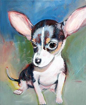 Big-Eared Chihuahua   Signed Print of Dog Painting