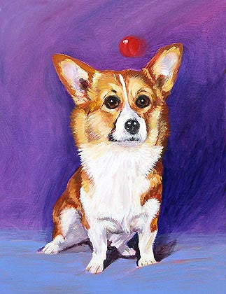 Corgi  Signed Print of Dog Painting