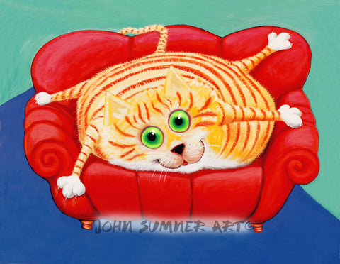 Couch Potato  Signed Print of Cat Painting