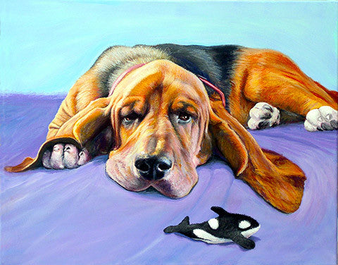 Day Dreamer  Signed Print of Basset Hound Dog Painting