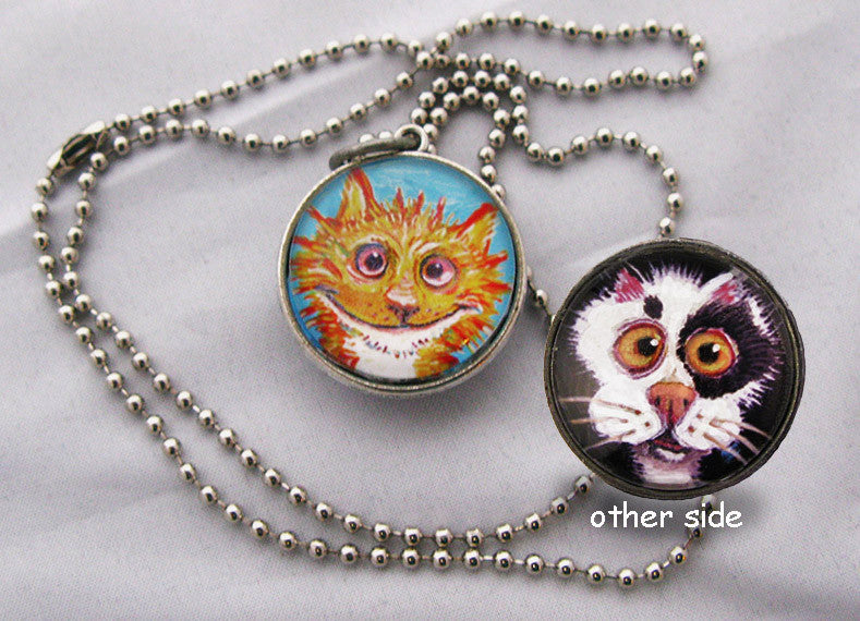 Double sided Cat Pendant
