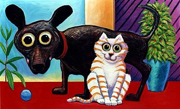 Family Jewels  Signed Print of Cat and Dog Painting
