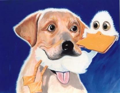 A Fowl Affair  Signed Print of Dog Painting