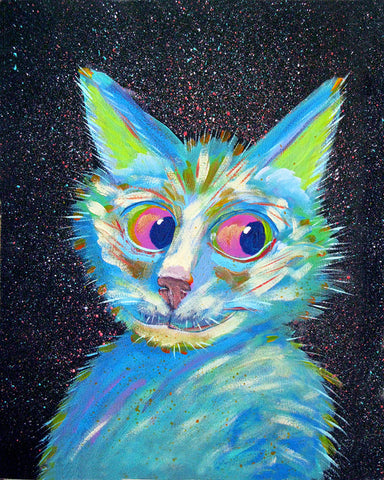 Night Hunter  Signed Print of Cat Painting