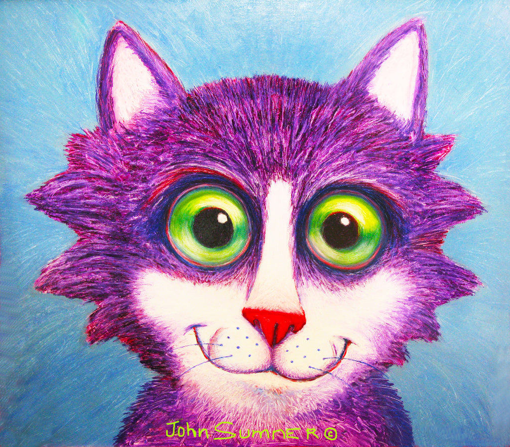 Perky  Signed Print of Cat Painting