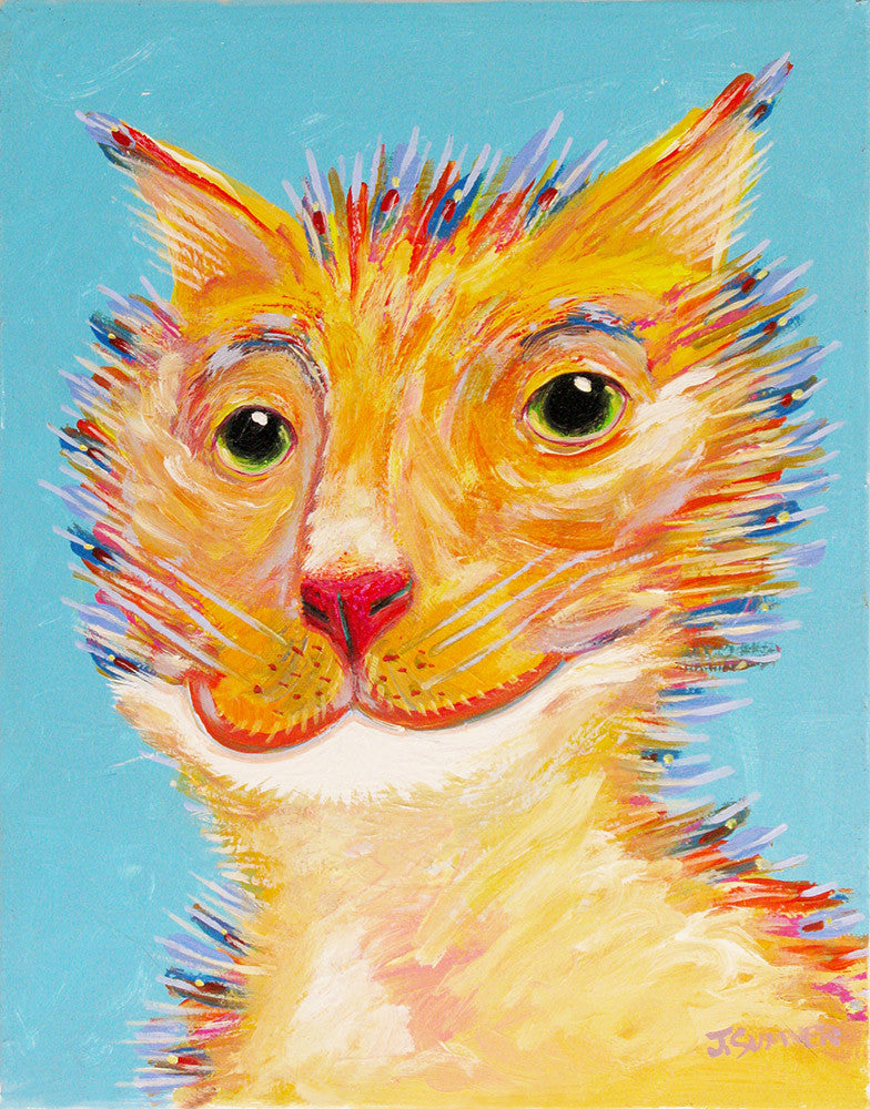 Porkchops  Signed Print of Cat Painting