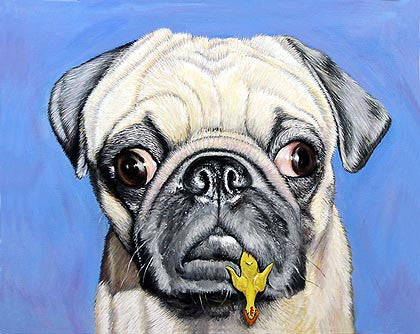 Chewy  Signed Print of  Pug Dog Painting