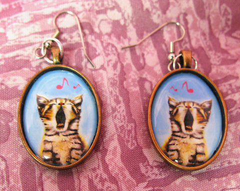 Singing Cat Earrings