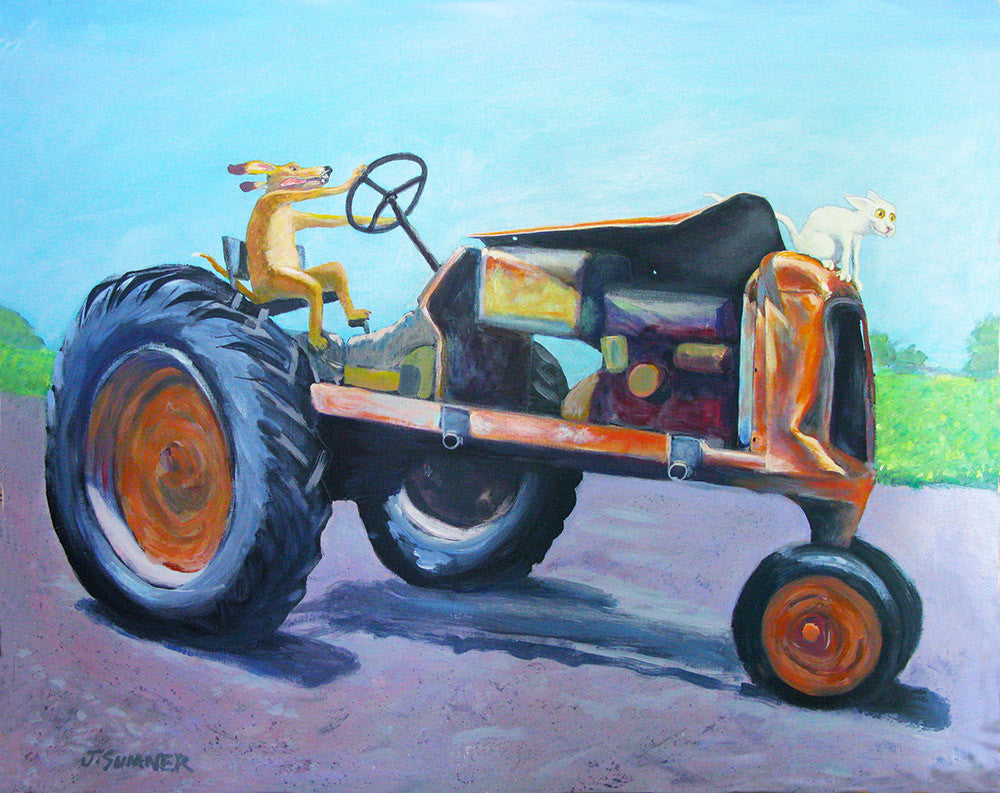 Tractor Trip'n  Signed print of Cat and Dog painting