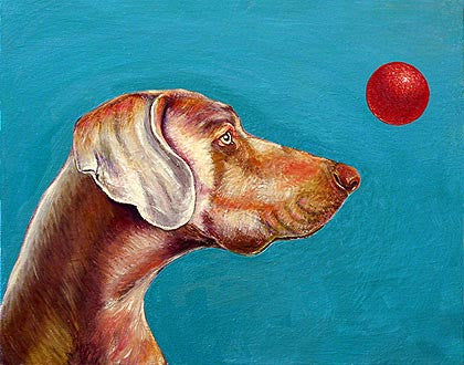 Eyes on the Ball   Signed Print of Dog Painting