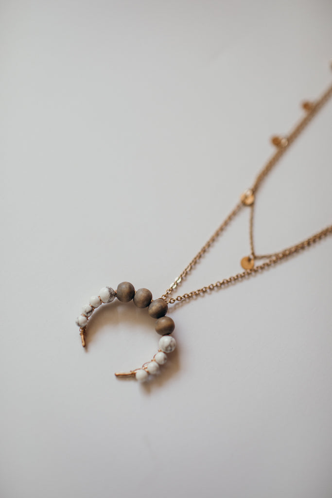 Howlite Crescent Necklace