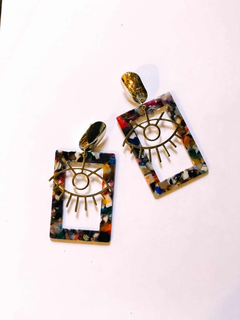 Eye Of The Tiger Earrings - Multi