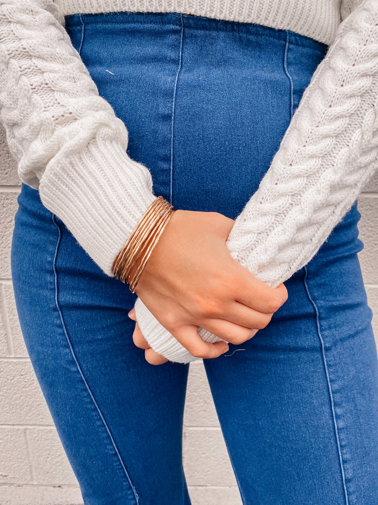 Gold Textured Bangle Bracelet Set